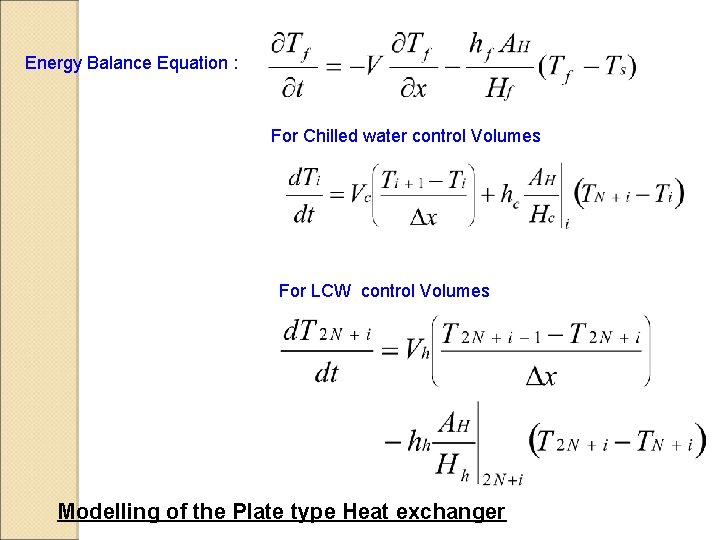 Energy Balance Equation : For Chilled water control Volumes For LCW control Volumes Modelling