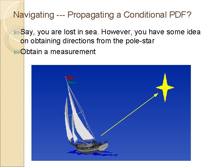 Navigating --- Propagating a Conditional PDF? Say, you are lost in sea. However, you