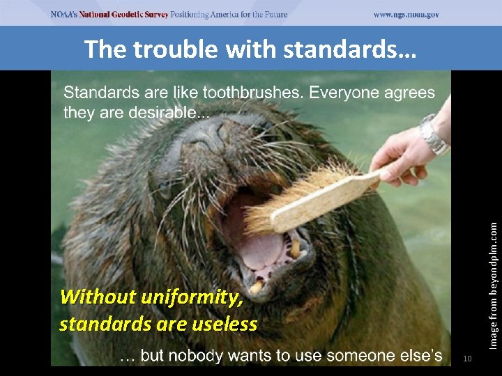 Image from beyondplm. com The trouble with standards… Without uniformity, standards are useless 10
