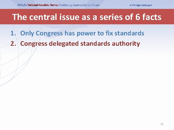 The central issue as a series of 6 facts 1. Only Congress has power
