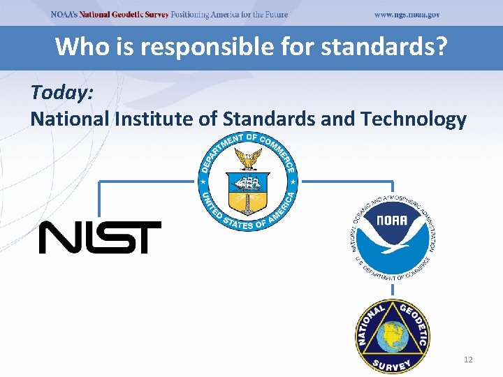 Who is responsible for standards? Today: National Institute of Standards and Technology 12
