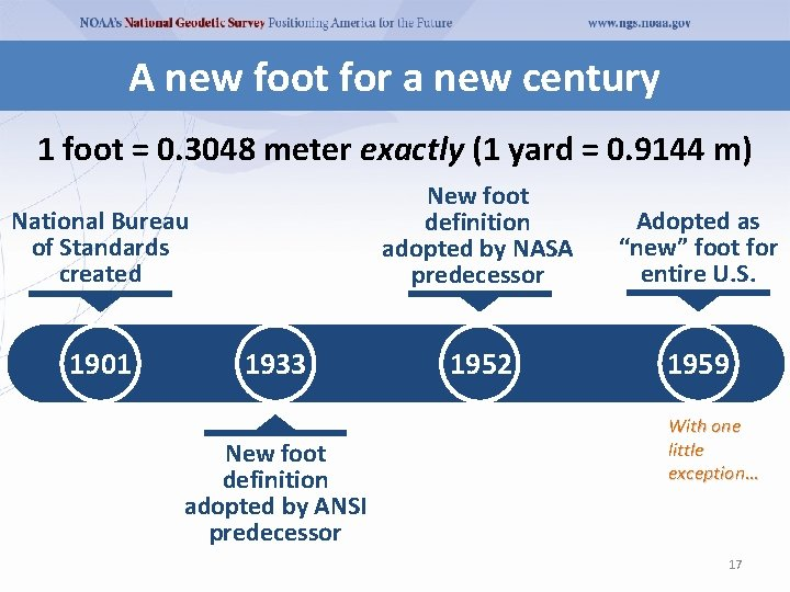 A new foot for a new century 1 foot = 0. 3048 meter exactly