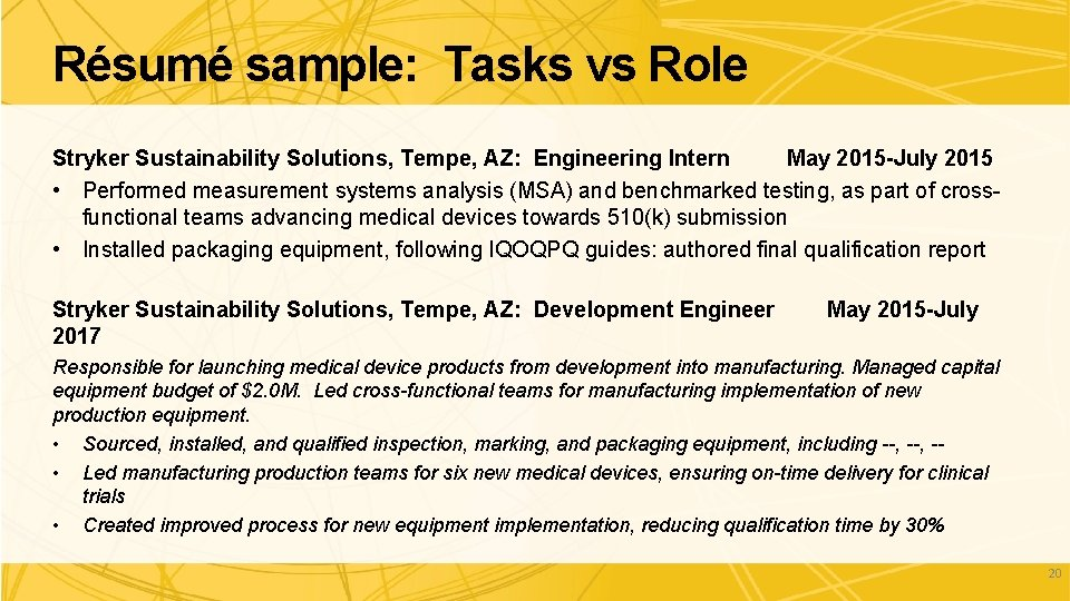 Résumé sample: Tasks vs Role Stryker Sustainability Solutions, Tempe, AZ: Engineering Intern May 2015