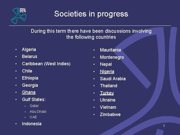 Societies in progress During this term there have been discussions involving the following countries