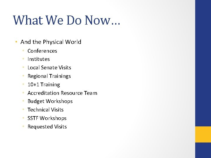 What We Do Now… • And the Physical World • • • Conferences Institutes