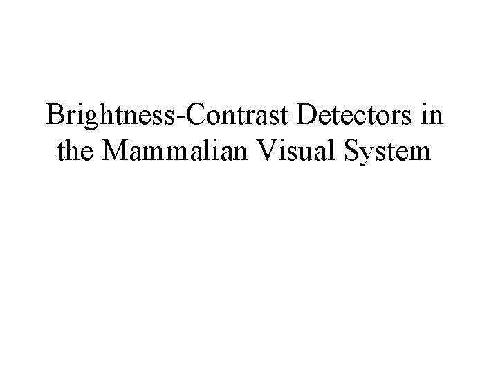Brightness-Contrast Detectors in the Mammalian Visual System