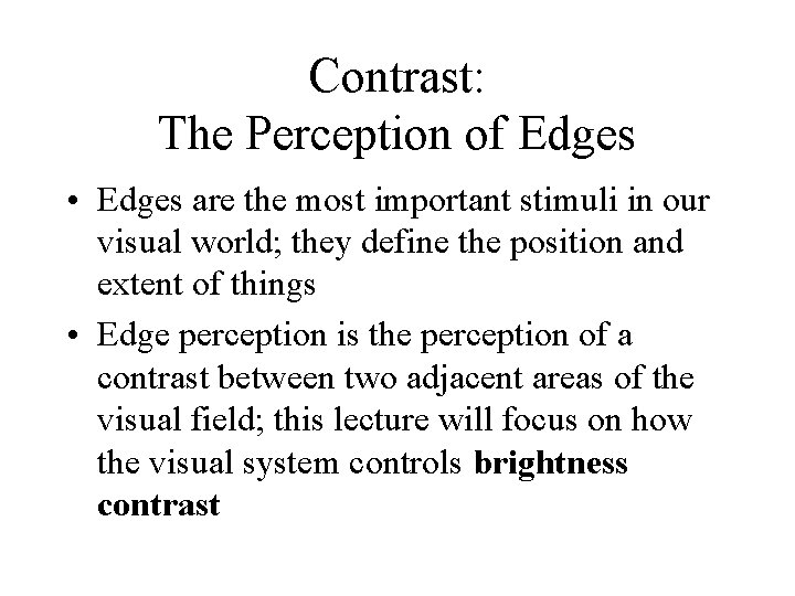 Contrast: The Perception of Edges • Edges are the most important stimuli in our