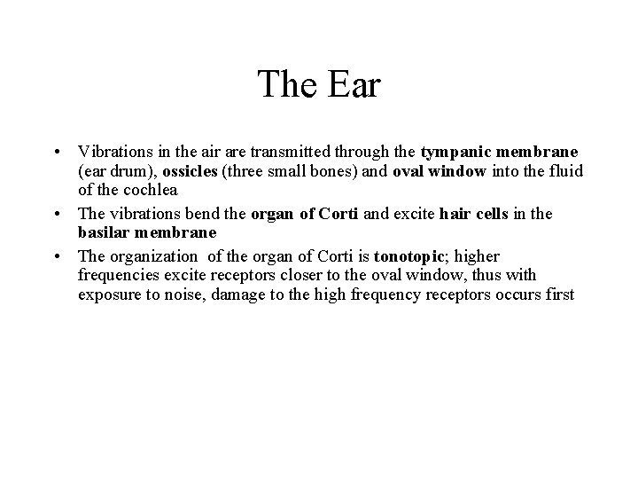 The Ear • Vibrations in the air are transmitted through the tympanic membrane (ear