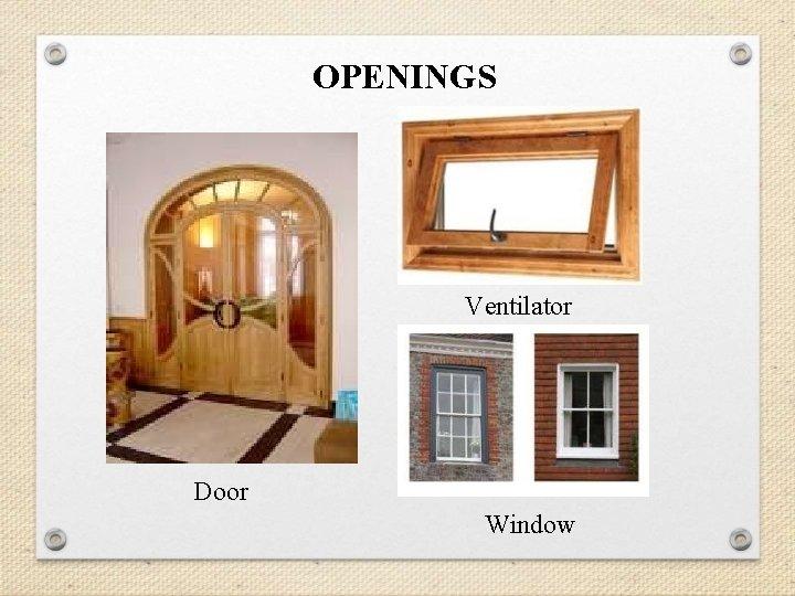 OPENINGS Ventilator Door Window