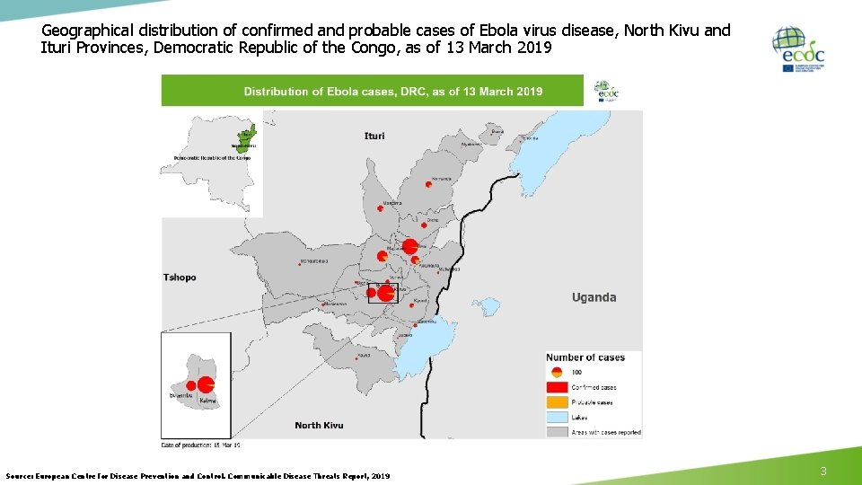 Geographical distribution of confirmed and probable cases of Ebola virus disease, North Kivu and