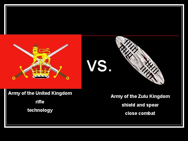 vs. Army of the United Kingdom rifle technology Army of the Zulu Kingdom shield