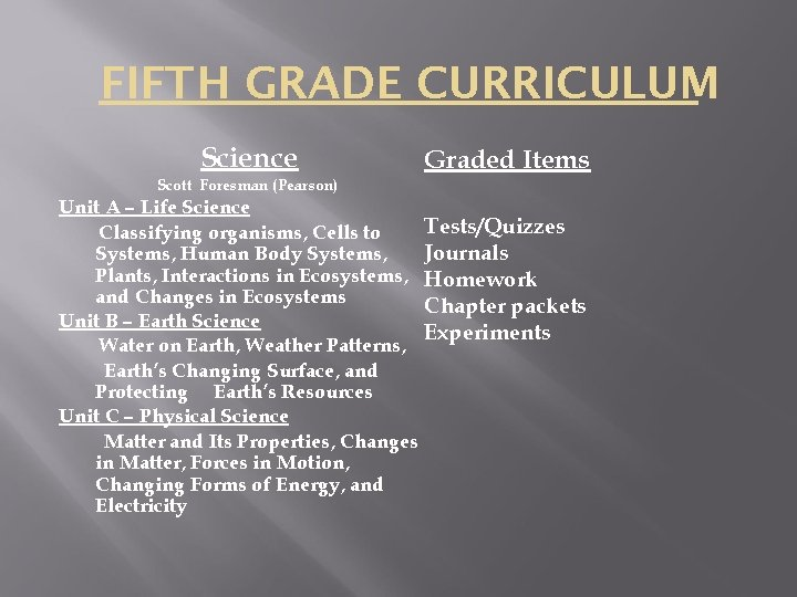 FIFTH GRADE CURRICULUM Science Graded Items Scott Foresman (Pearson) Unit A – Life Science