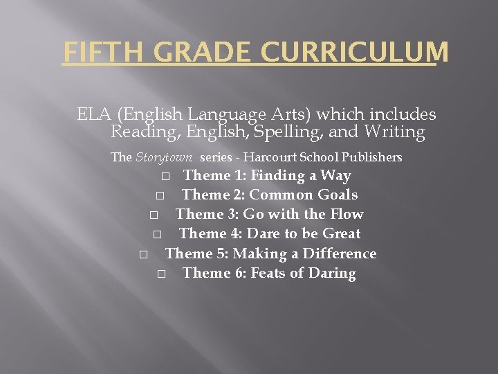 FIFTH GRADE CURRICULUM ELA (English Language Arts) which includes Reading, English, Spelling, and Writing