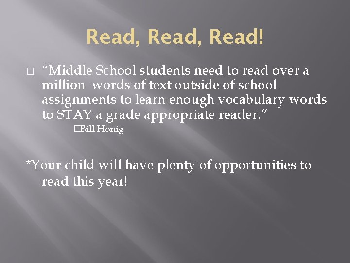"""Read, Read! � """"Middle School students need to read over a million words of"""
