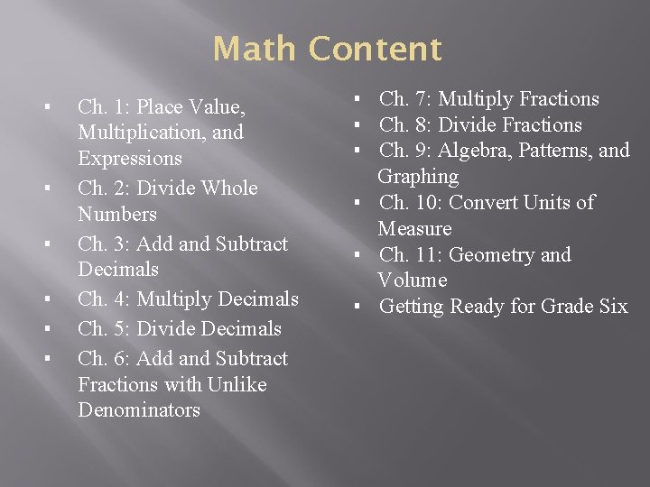 Math Content ▪ ▪ ▪ Ch. 1: Place Value, Multiplication, and Expressions Ch. 2: