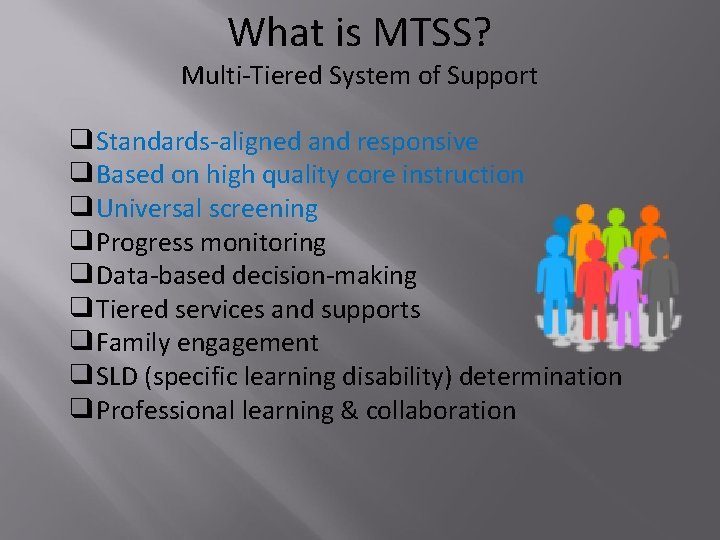 What is MTSS? Multi-Tiered System of Support ❑Standards-aligned and responsive ❑Based on high quality