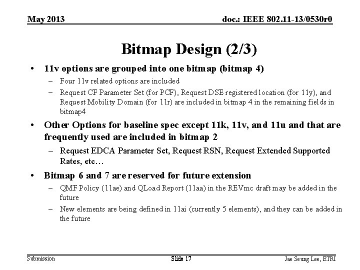 May 2013 doc. : IEEE 802. 11 -13/0530 r 0 Bitmap Design (2/3) •