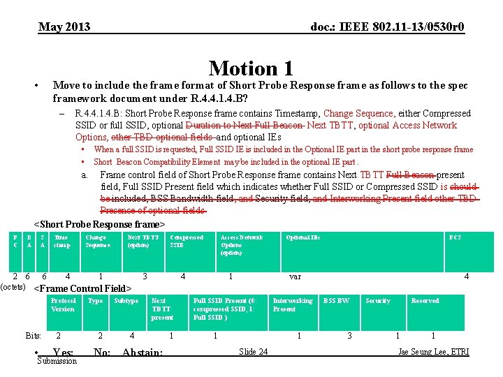 May 2013 doc. : IEEE 802. 11 -13/0530 r 0 Motion 1 • Move