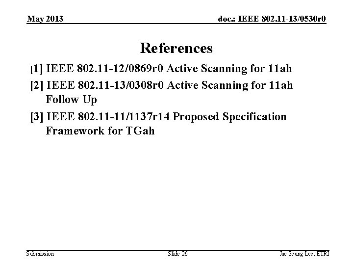 May 2013 doc. : IEEE 802. 11 -13/0530 r 0 References [1] IEEE 802.