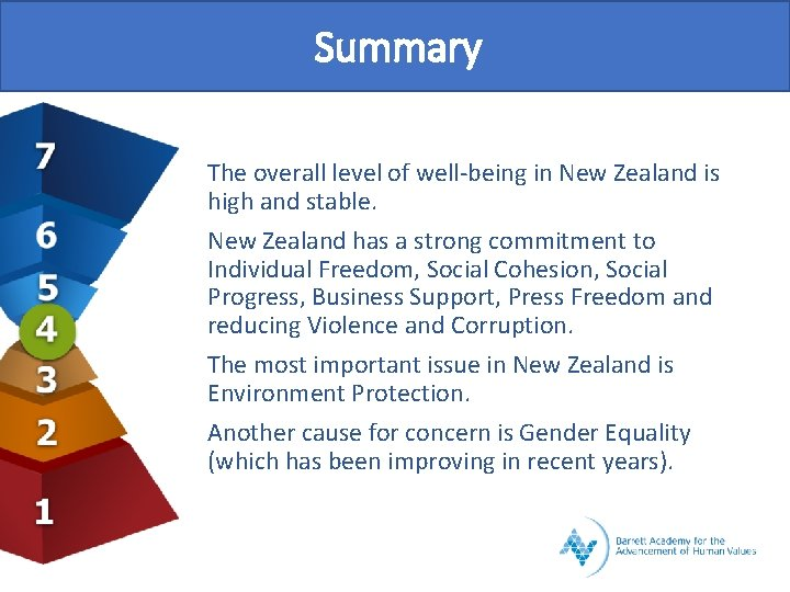 Summary The overall level of well-being in New Zealand is high and stable. New