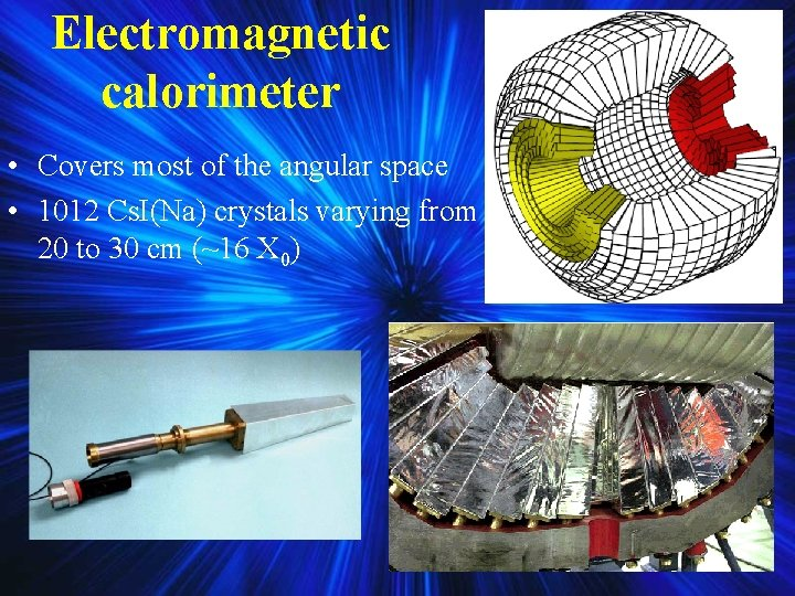 Electromagnetic calorimeter • Covers most of the angular space • 1012 Cs. I(Na) crystals