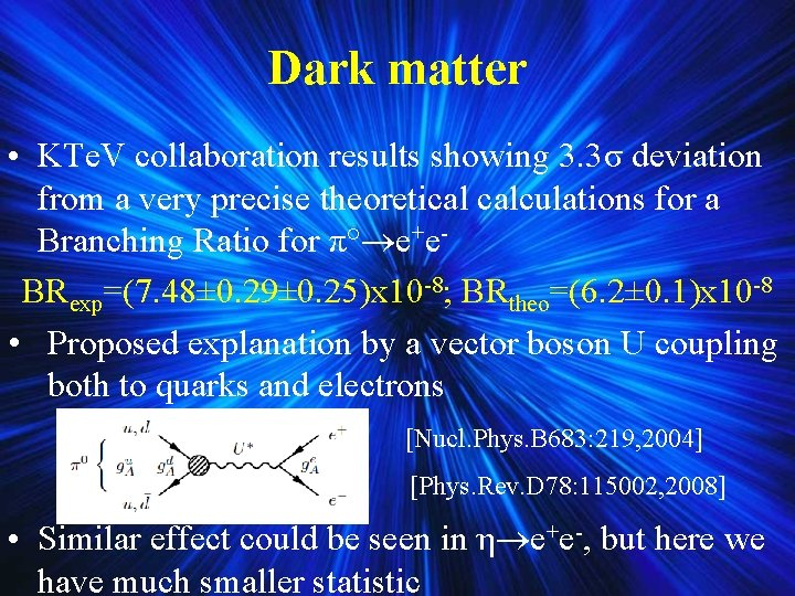 Dark matter • KTe. V collaboration results showing 3. 3σ deviation from a very