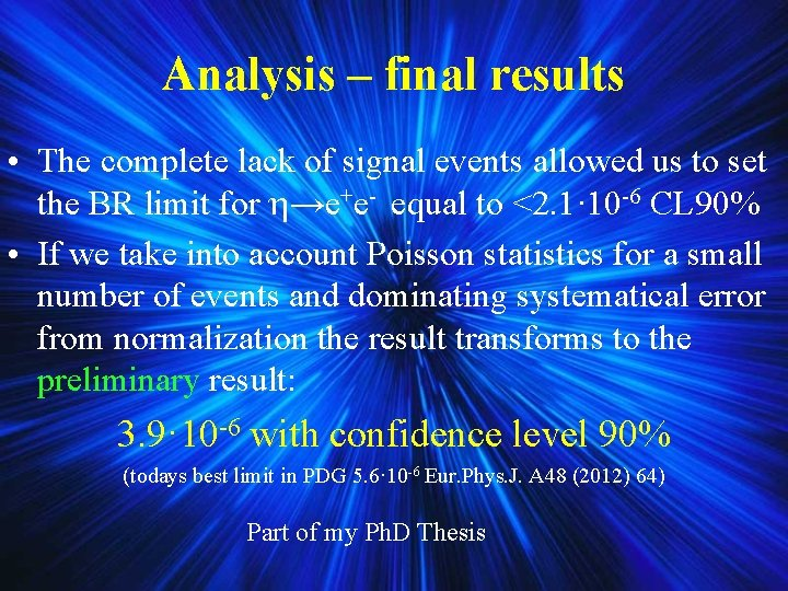 Analysis – final results • The complete lack of signal events allowed us to
