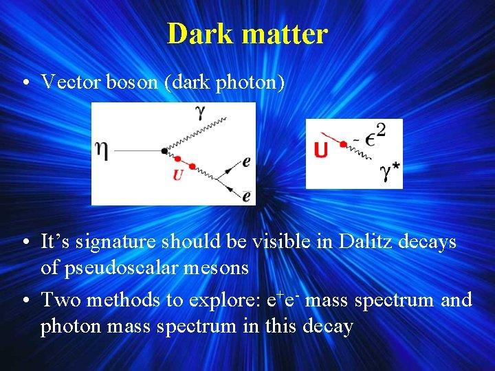 Dark matter • Vector boson (dark photon) • It's signature should be visible in