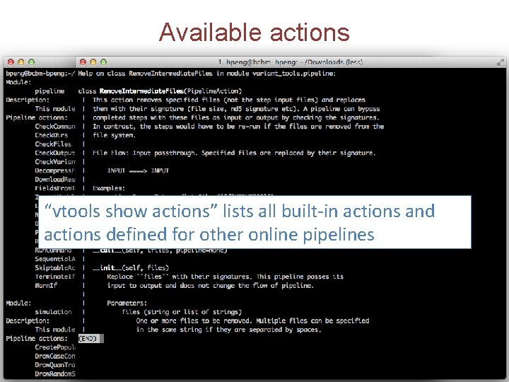 """Available actions """"vtools show actions"""" lists all built-in actions and actions defined for other"""