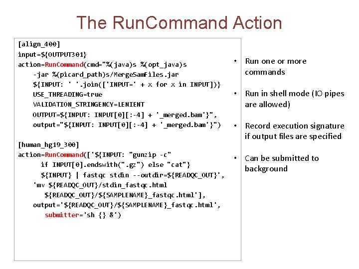 """The Run. Command Action [align_400] input=${OUTPUT 301} action=Run. Command(cmd=""""%(java)s %(opt_java)s -jar %(picard_path)s/Merge. Sam. Files."""