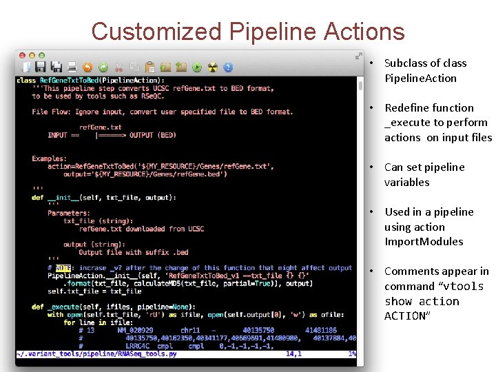 Customized Pipeline Actions • Subclass of class Pipeline. Action • Redefine function _execute to