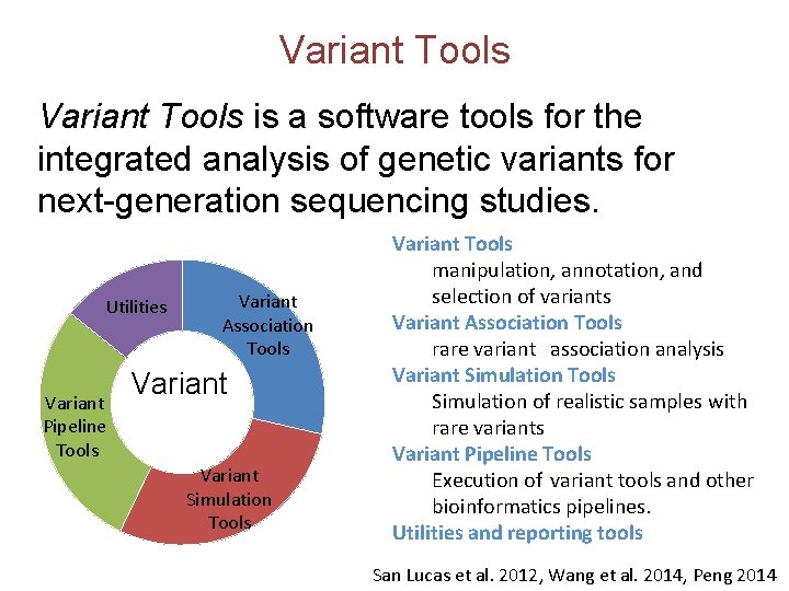 Variant Tools is a software tools for the integrated analysis of genetic variants for