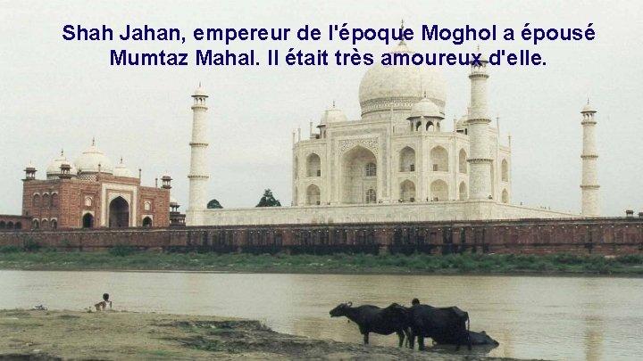 Shah Jahan, empereur de l'époque Moghol a épousé Mumtaz Mahal. Il était très amoureux