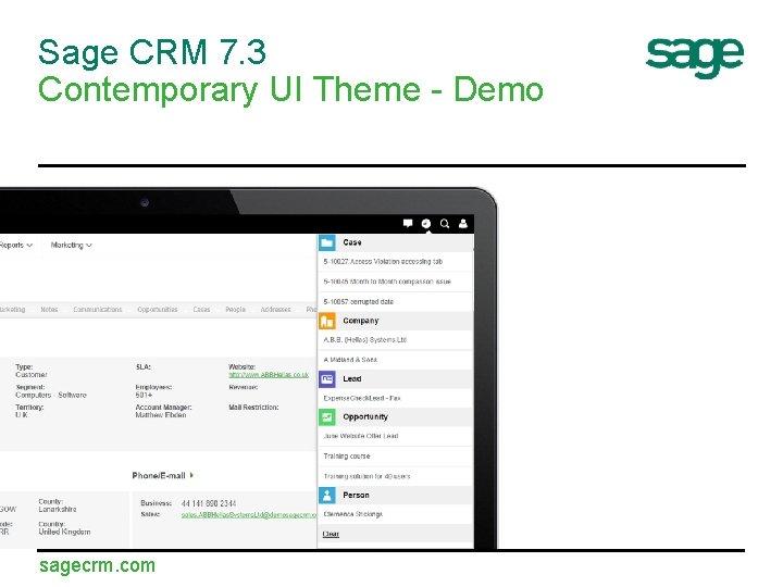 Sage CRM 7. 3 Contemporary UI Theme - Demo sagecrm. com