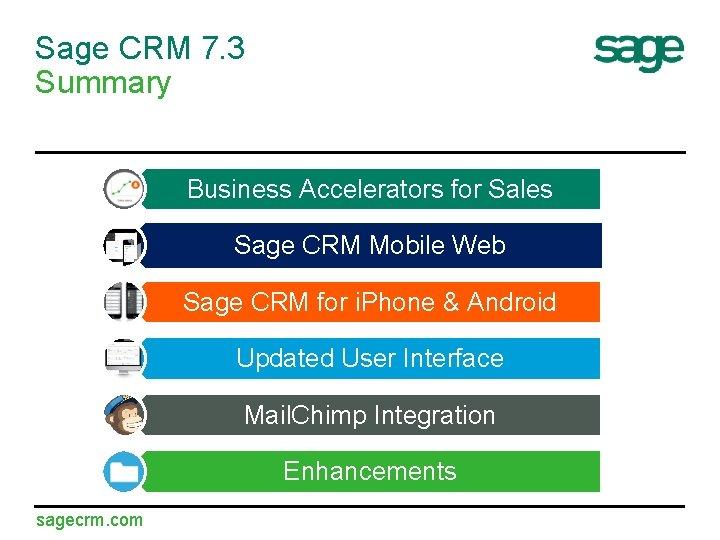 Sage CRM 7. 3 Summary Business Accelerators for Sales Sage CRM Mobile Web Sage