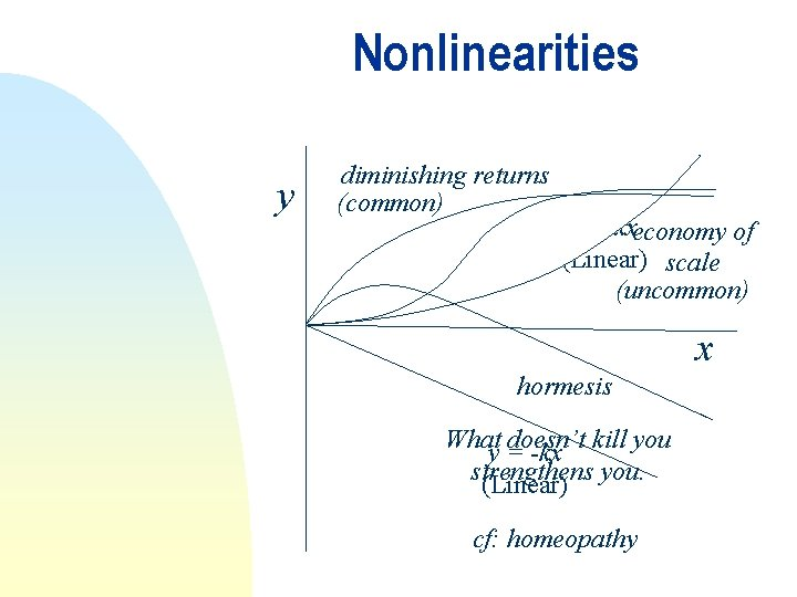 Nonlinearities y diminishing returns (common) y = kxeconomy of (Linear) scale (uncommon) x hormesis