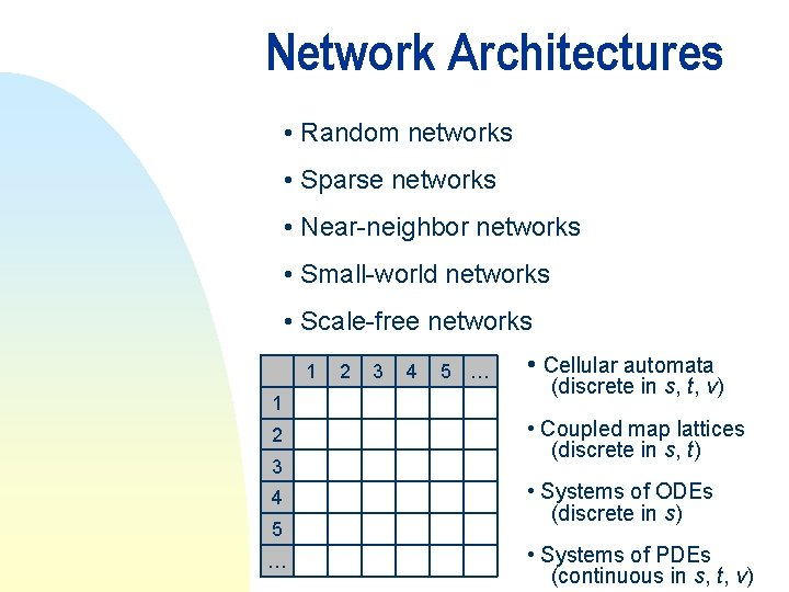 Network Architectures • Random networks • Sparse networks • Near-neighbor networks • Small-world networks