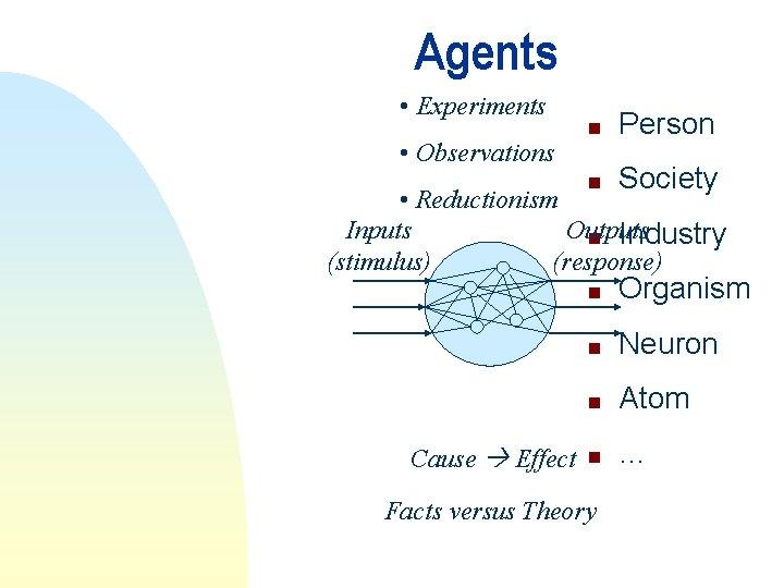 Agents • Experiments n Person n Society n Organism n Neuron n Atom n