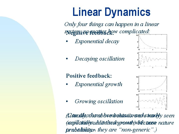 Linear Dynamics Only four things can happen in a linear system, no feedback: matter