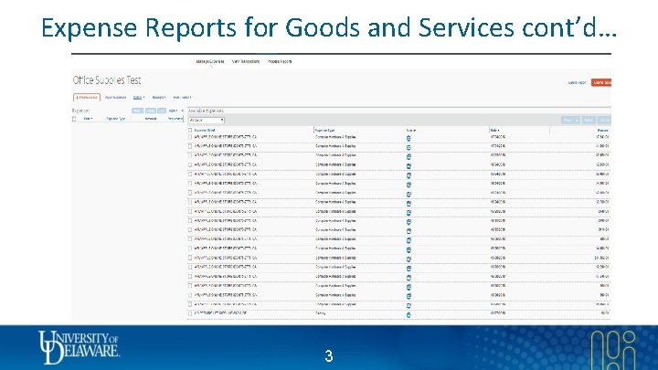 Expense Reports for Goods and Services cont'd… 3