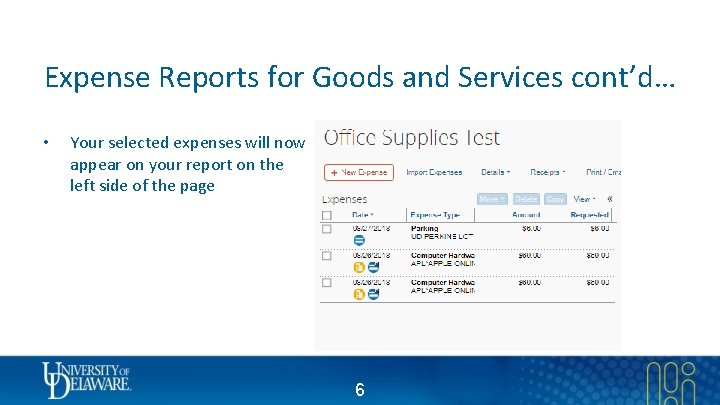 Expense Reports for Goods and Services cont'd… • Your selected expenses will now appear
