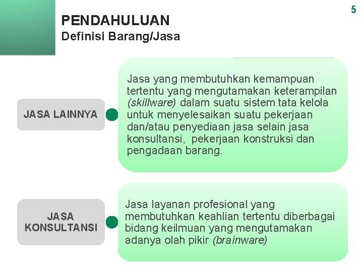 PENDAHULUAN Definisi Barang/Jasa JASA LAINNYA Jasa yang membutuhkan kemampuan tertentu yang mengutamakan keterampilan (skillware)