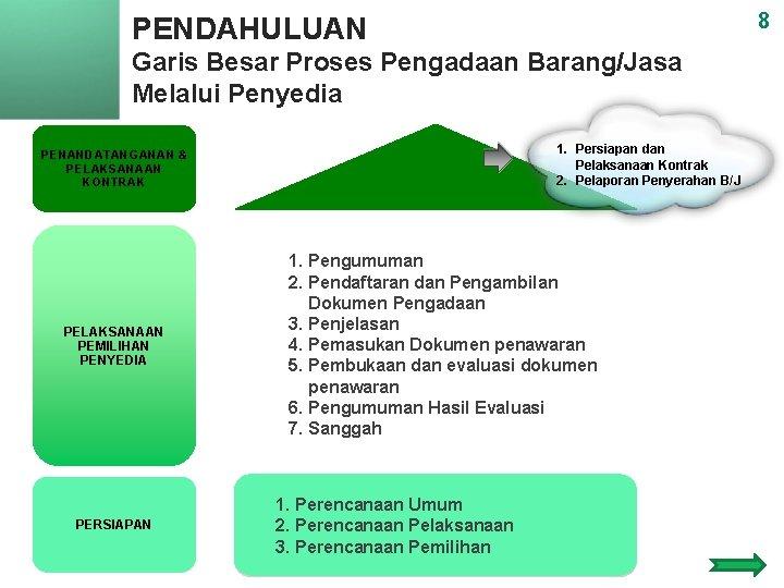 8 PENDAHULUAN Garis Besar Proses Pengadaan Barang/Jasa Melalui Penyedia 1. Persiapan dan Pelaksanaan Kontrak