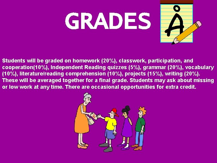 GRADES Students will be graded on homework (20%), classwork, participation, and cooperation(10%), Independent Reading