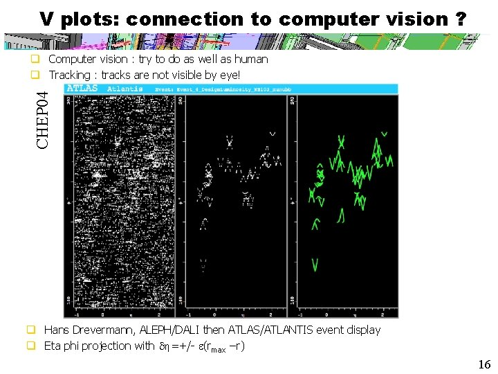 V plots: connection to computer vision ? CHEP 04 q Computer vision : try