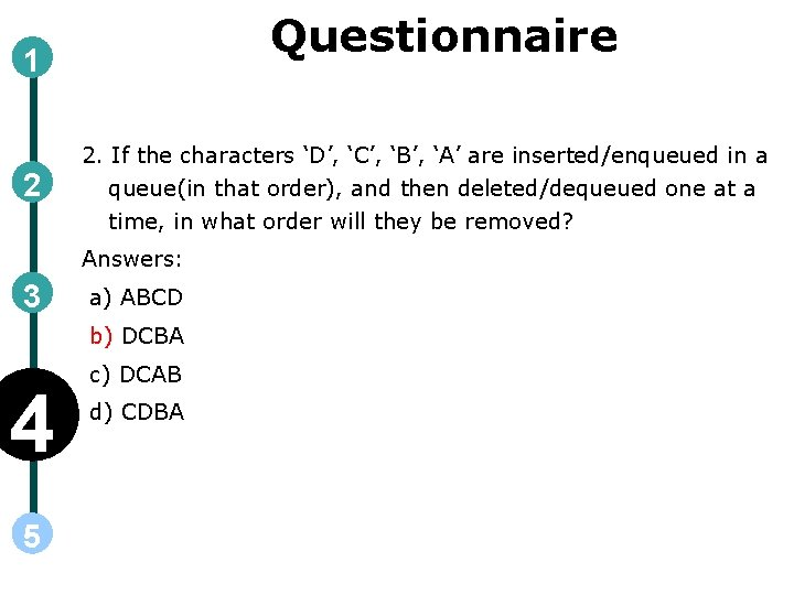 Questionnaire 1 2 2. If the characters 'D', 'C', 'B', 'A' are inserted/enqueued in