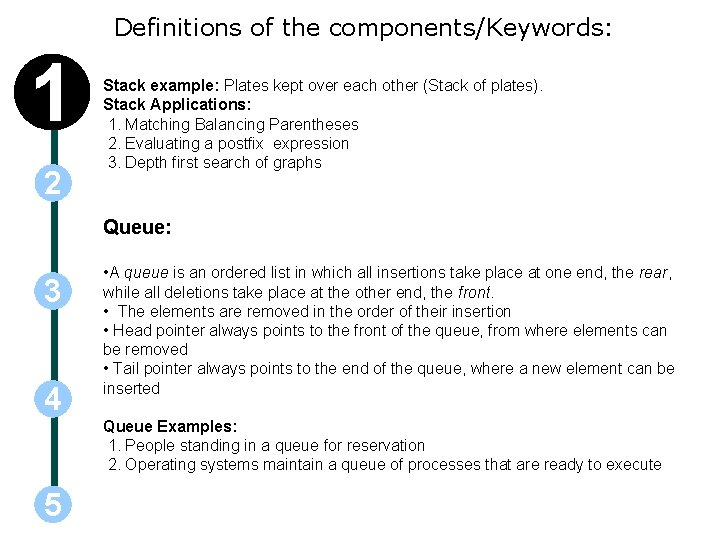 Definitions of the components/Keywords: 1 2 Stack example: Plates kept over each other (Stack