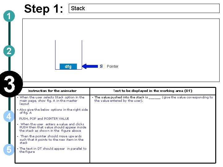 1 Step 1: Stack 2 3 4 Instruction for the animator • When the