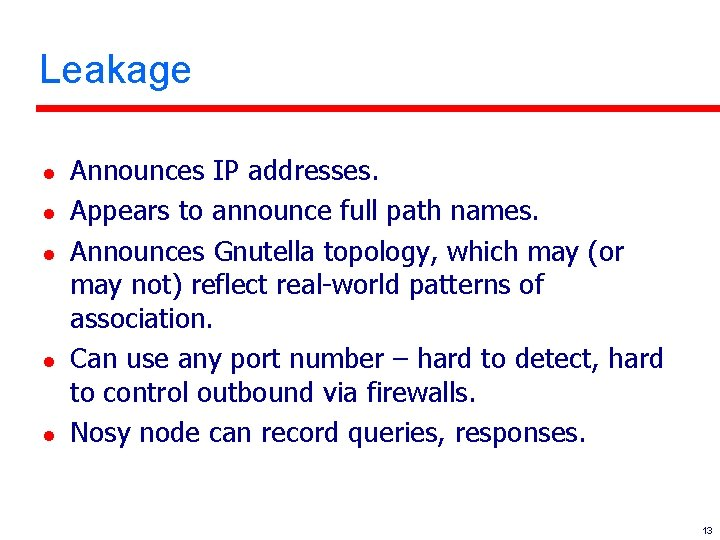 Leakage l l l Announces IP addresses. Appears to announce full path names. Announces