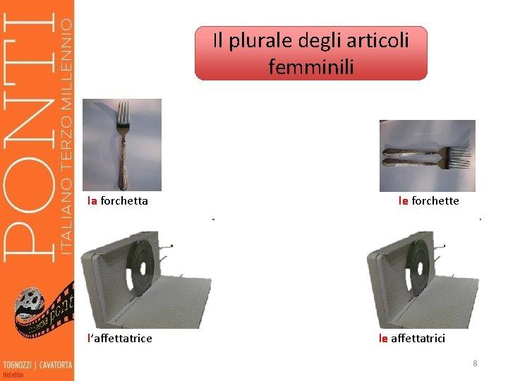 Il plurale degli articoli femminili la forchetta l'affettatrice le forchette le affettatrici 8